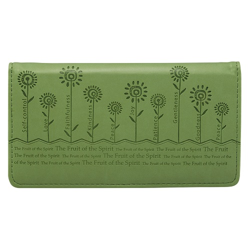 Christian Checkbook Cover - The Fruit of the Spirit (Flowers) Sage Green CHB010