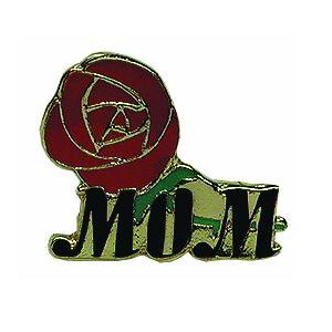 MOM Lapel Pin w/Red Rose Metal Clutch Back