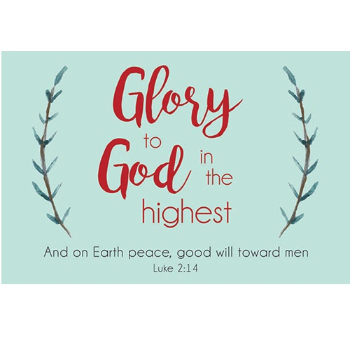 (Pkg. 25) Christmas Message Cards - Glory To God B1848