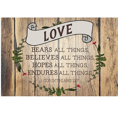 Love Bears All Things (Wood/Ribbon) Pass It On Message Card YC824