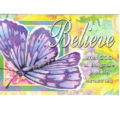 (Pkg. 25) Believe (Butterfly) With God All Things Christian Message Cards 29147