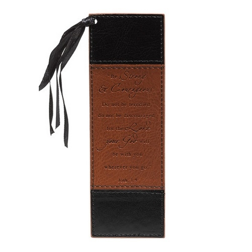 Luxleather Bookmark Pagemarker - Be Strong and Courageous BMF040