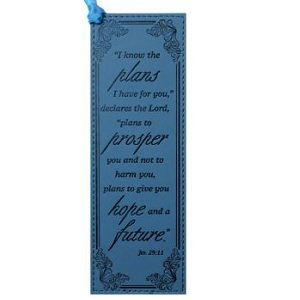 Faux Leather Bookmark Pagemarker - I Know the Plans (Blue) BMF044